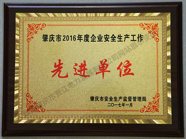2016年安全生产工作先进单位